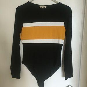 Long Sleeve Color Block Bodysuit